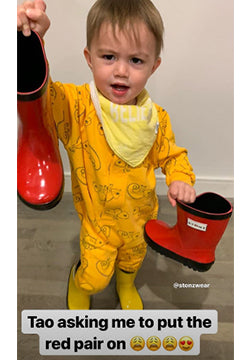 Eva Chen's adorable son Tao wants to share his Stonz Rain Boots with mom!