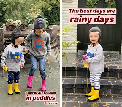 Model and actress Molly Sims' kids are having a blast in their Stonz Rain Boots!
