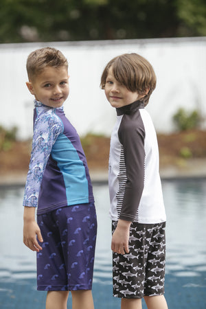 Shorts - Black Sharks Print - UPF 50 4-way stretch fabric for Kids - Stonz