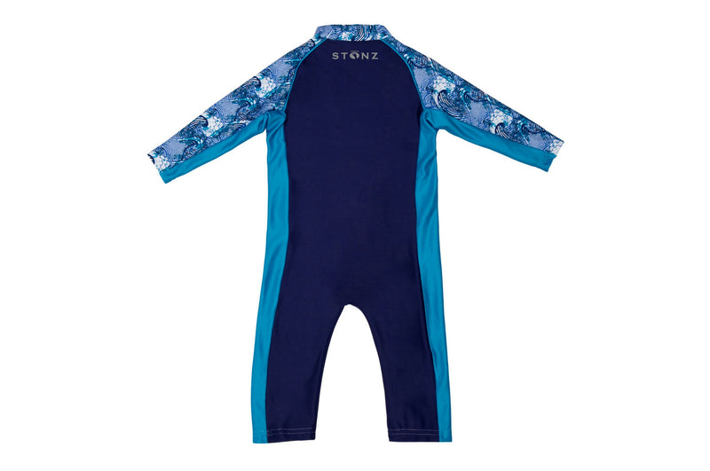Sun Suit - Big Surf Print - Raised collar to protect from sunburn for Babies- Stonz