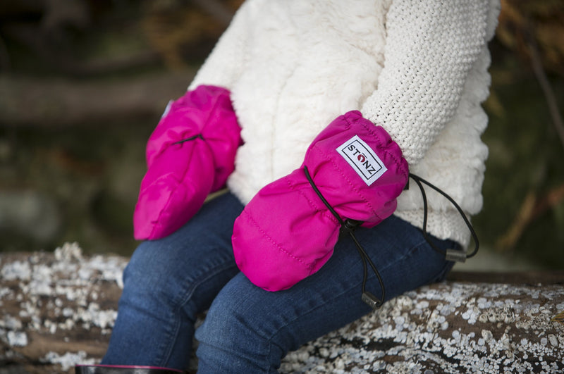 Fuchsia Baby Mitts - Extra wide overarm design covers outerwear for Babies - Stonz