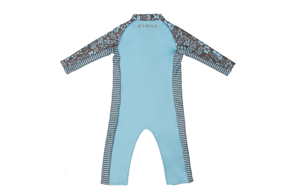 Sun Suit - Floral Print - Raised collar to protect from sunburn for Babies- Stonz