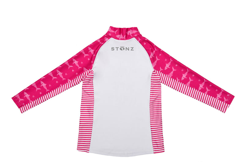 Big Kid Top - Pink Sharks Print - Raised collar to protect from sunburn for Toddlers - Stonz