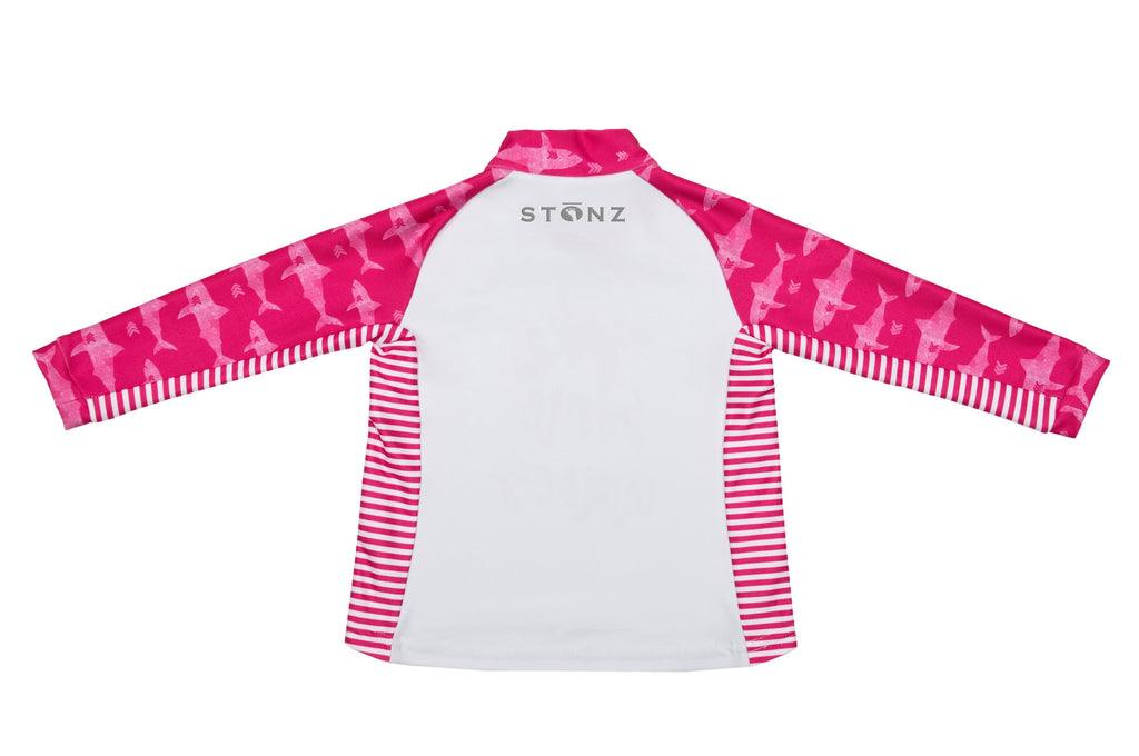 Little Kid Top - Pink Sharks Print - Raised collar to protect from sunburn for Babies - Stonz