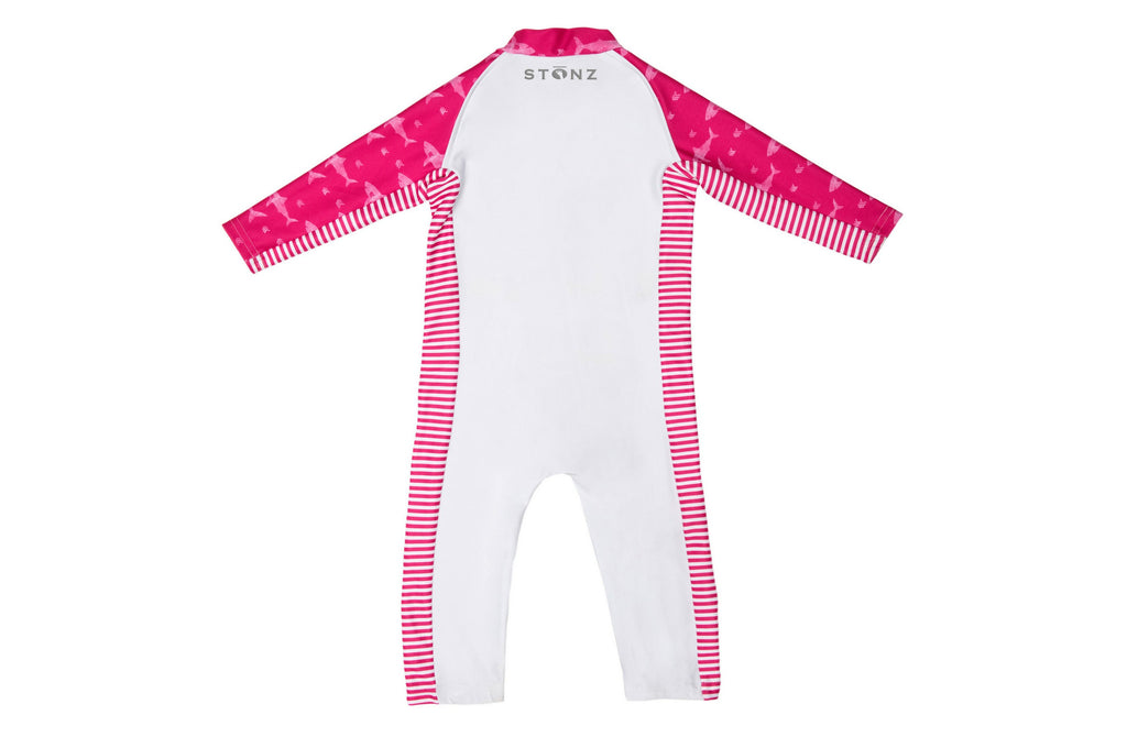 Sun Suit - Pink Sharks Print - Raised collar to protect from sunburn for Babies - Stonz