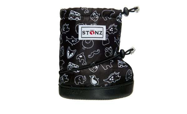 Toddler Booties - Stonz Print - Black