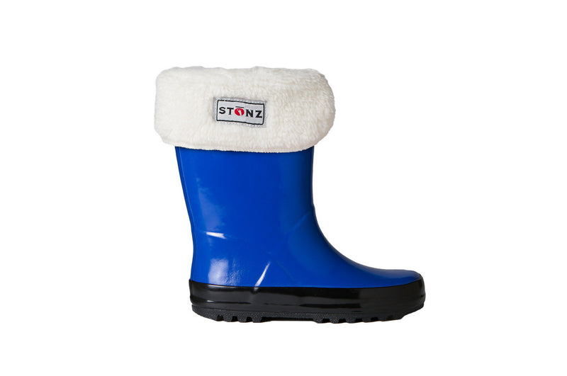 Blue Rain Boots with Fleece Liner - Waterproof Rubber Boots for Kids - Stonz