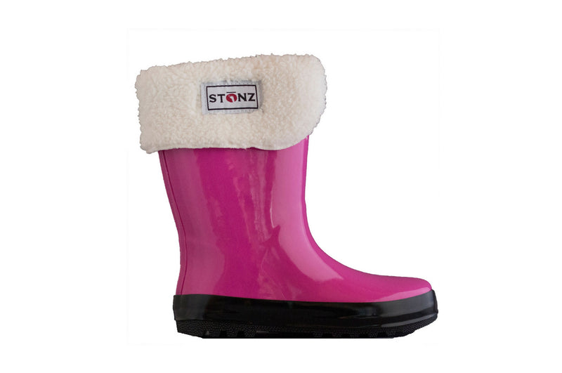 Fuchsia Rain Boots with Fleece Liner - Waterproof Rubber Boots for Kids - Stonz