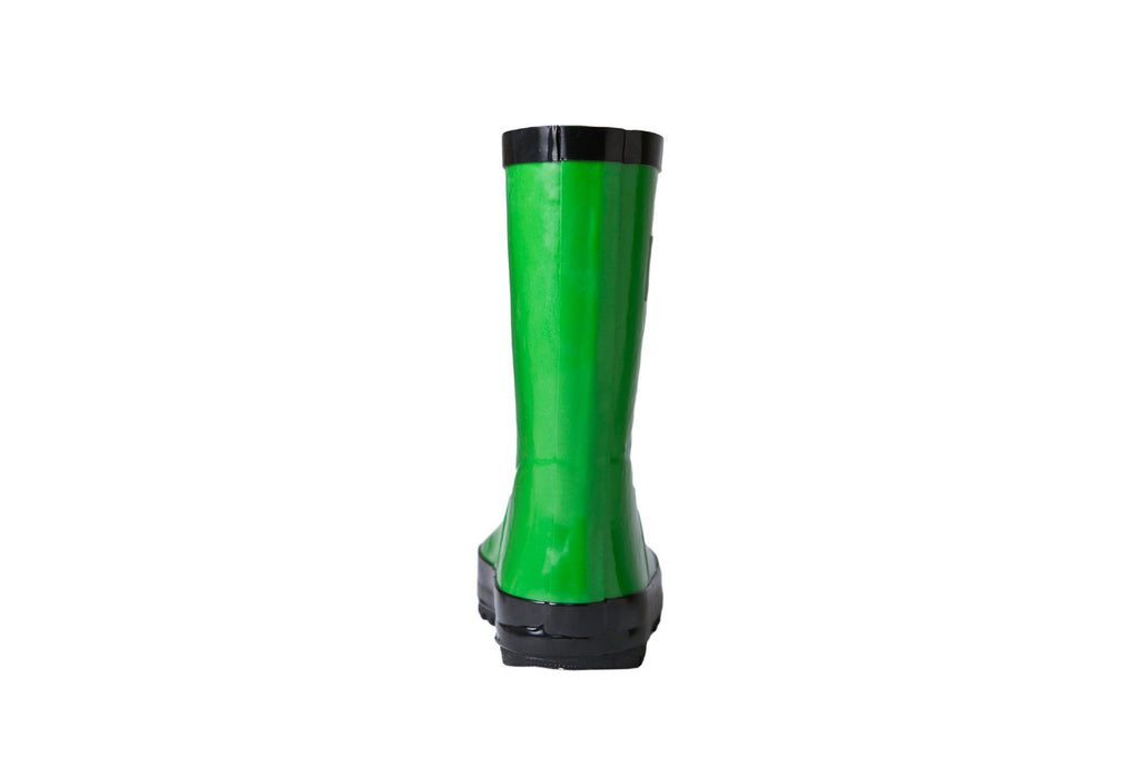 Green Rain Boots - Back View - Waterproof Rubber Boots for Kids - Stonz