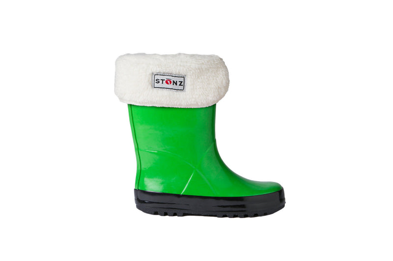 Green Rain Boots with Fleece Liner - Waterproof Rubber Boots for Kids - Stonz