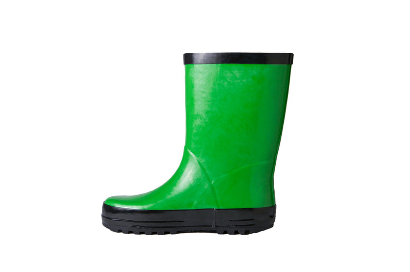 Green Rain Boots - Side View - Waterproof Rubber Boots for Kids - Stonz