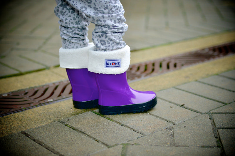 Fun Purple Rain Boots - Waterproof Rubber Boots for Kids - Stonz