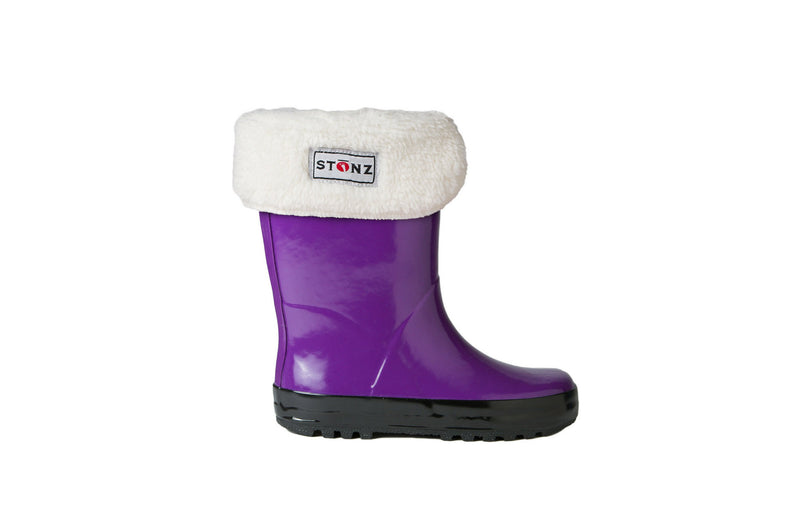 Purple Rain Boots with Fleece Liner - Waterproof Rubber Boots for Kids - Stonz