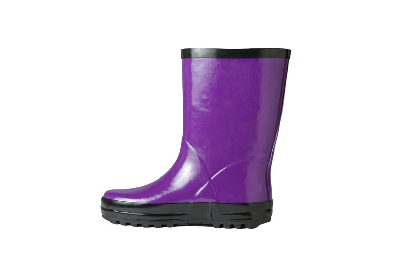 Purple Rain Boots - Side View - Waterproof Rubber Boots for Kids - Stonz