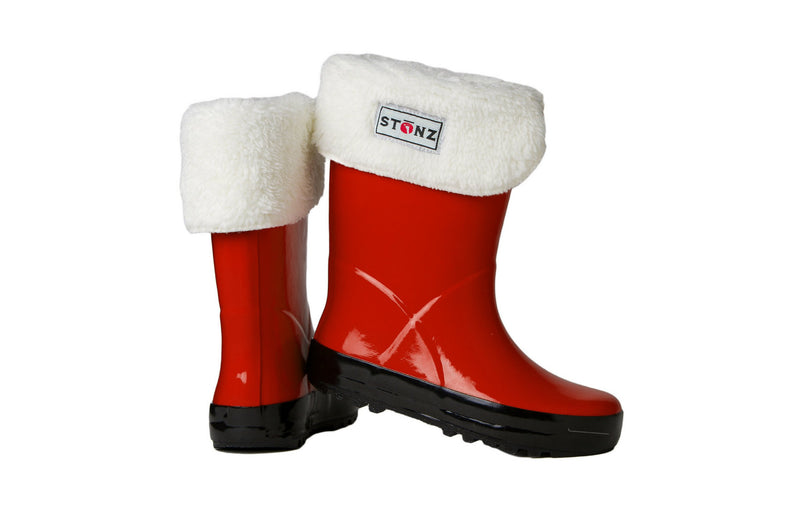 Red Rain Boots with Fleece Liner - Waterproof Rubber Boots for Kids - Stonz