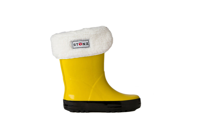 Yellow Rain Boots with Fleece Liner - Waterproof Rubber Boots for Kids - Stonz