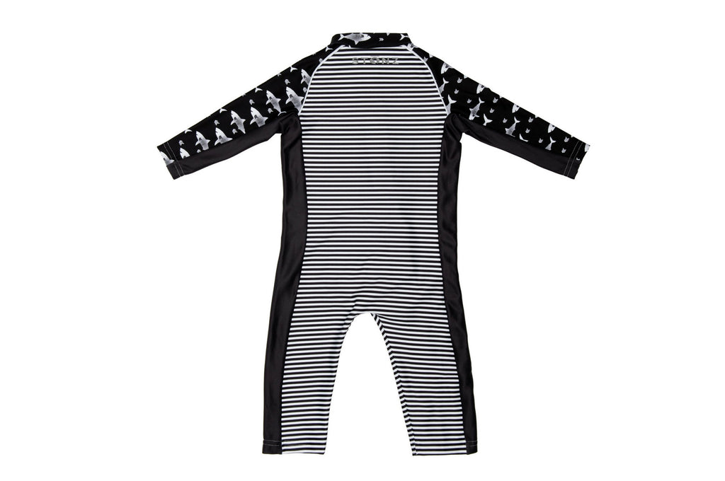Sun Suit - Black Stripes Print - Raised collar to protect from sunburn for Babies - Stonz