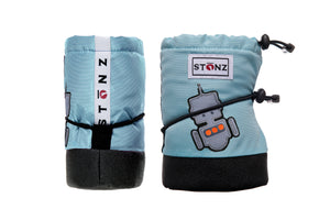 Baby Booties - Robot - Haze Blue