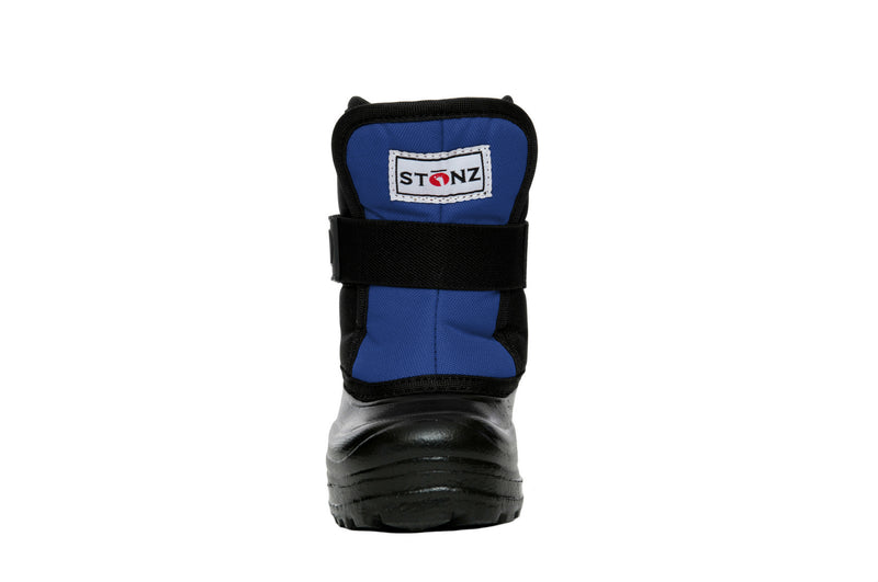 Slate Blue and Black Scout - Front View - Weather-resistant Winter Boots for Kids - Stonz