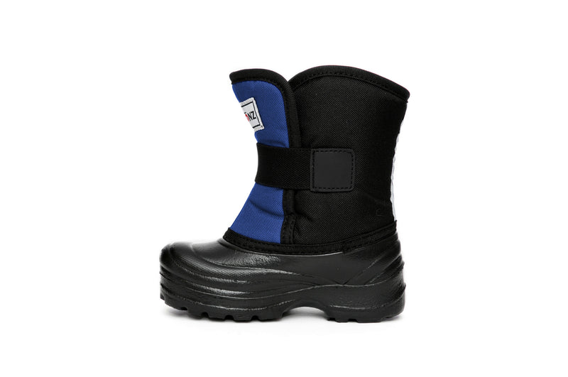 Slate Blue and Black Scout - Side View - Weather-resistant Winter Boots for Kids - Stonz
