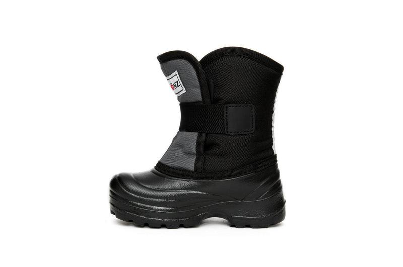 Grey and Black Scout - Back View - Weather-resistant Winter Boots for Kids - StonzGrey and Black Scout - Side View - Weather-resistant Winter Boots for Kids - Stonz