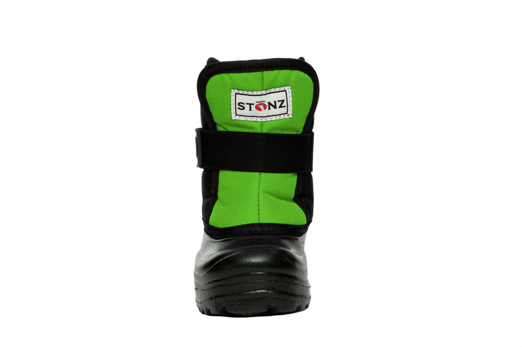 Lime and Black Scout - Front View - Weather-resistant Winter Boots for Kids - Stonz