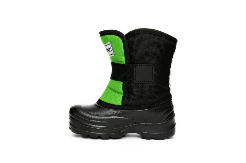 Lime and Black Scout - Side View - Weather-resistant Winter Boots for Kids - Stonz