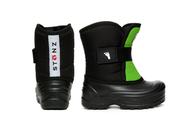 Lime and Black Scout - Lightest kid's winter boot on the market - Stonz