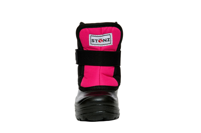 Pink and Black Scout - Front View - Weather-resistant Winter Boots for Kids - Stonz
