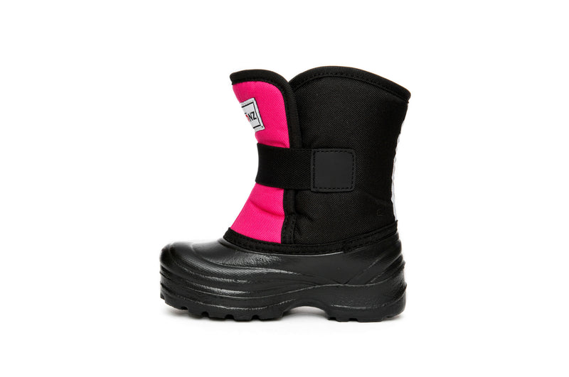 Pink and Black Scout - Side View - Weather-resistant Winter Boots for Kids - Stonz
