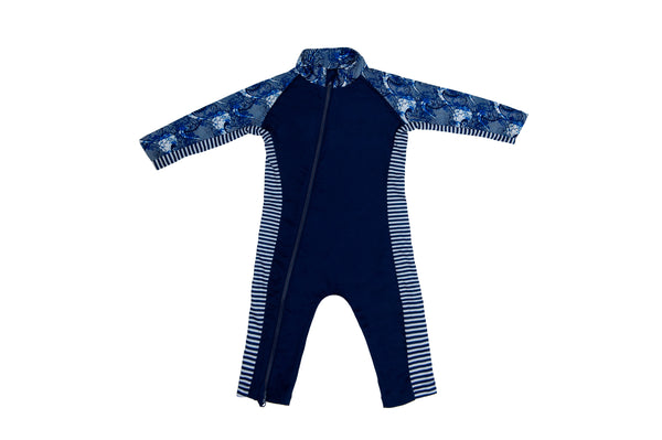 Sun Suit - Navy/Wave