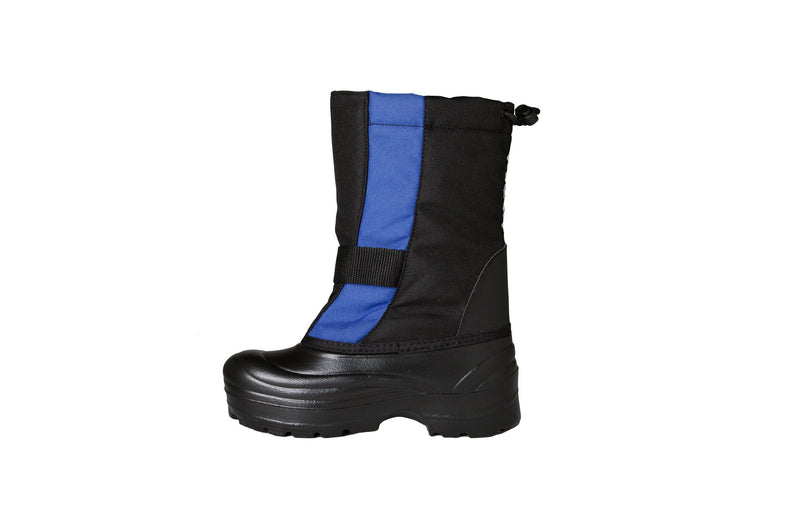 Slate Blue and Black Trek - Side View - Weather-resistant Winter Boots for Kids - Stonz