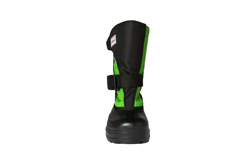 Lime and Black Trek - Front View - Weather-resistant Winter Boots for Kids - Stonz