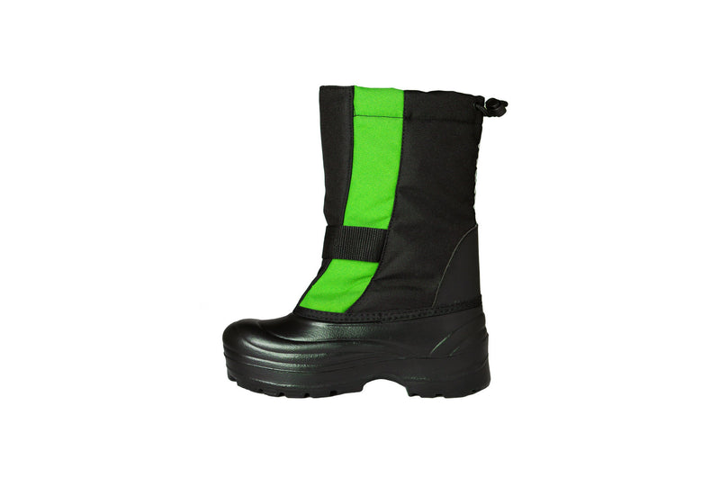 Lime and Black Trek - Side View - Weather-resistant Winter Boots for Kids - Stonz