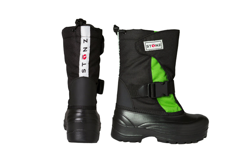 Lime and Black Trek - Extra wide opening - Weather-resistant Winter Boots for Kids - Stonz