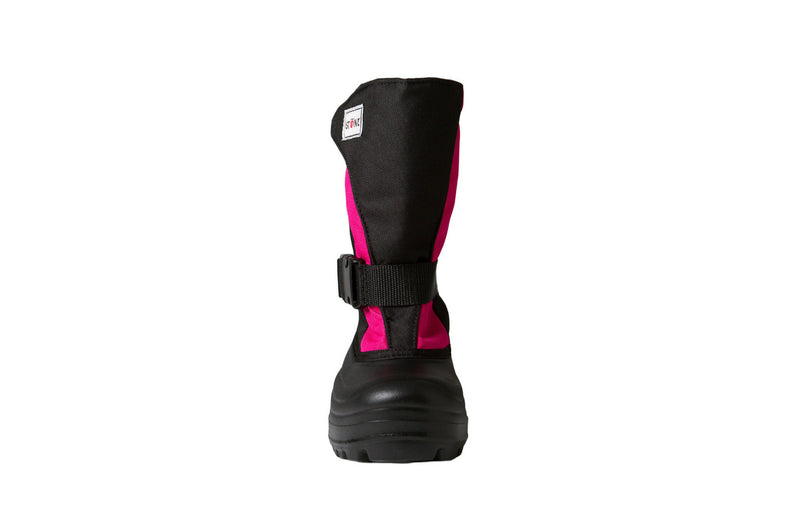 Pink and Black Trek - Front View - Weather-resistant Winter Boots for Kids - Stonz