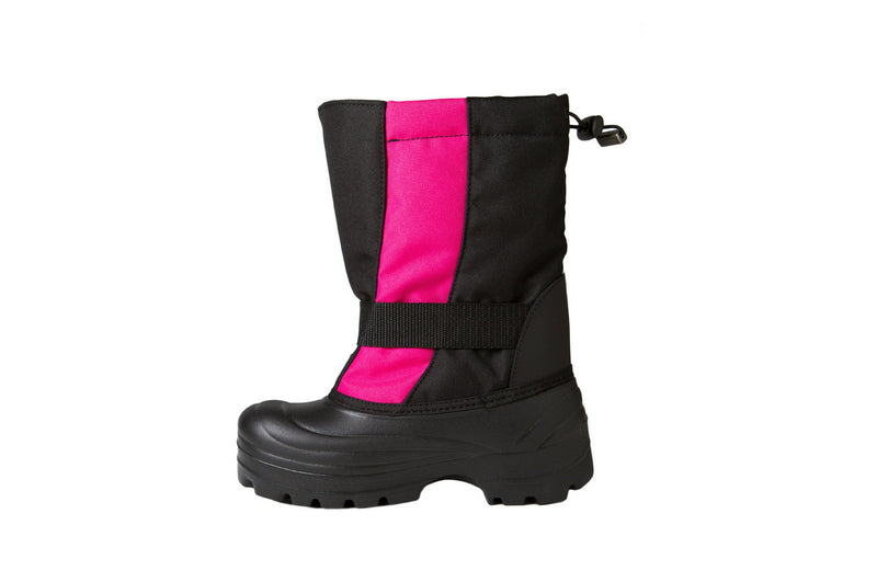 Pink and Black Trek - Side View - Weather-resistant Winter Boots for Kids - Stonz