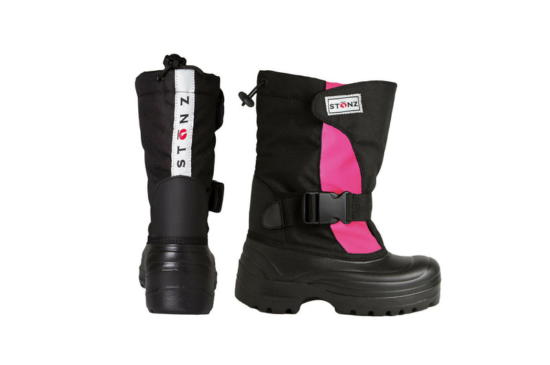 Pink and Black Trek - Extra wide opening - Weather-resistant Winter Boots for Kids - Stonz