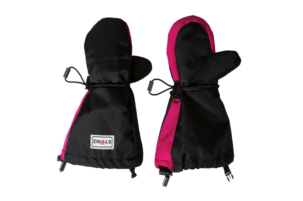 Pink and Black Youth Mitts - Waterproof Gloves with Fleece Lining for Toddlers - Stonz