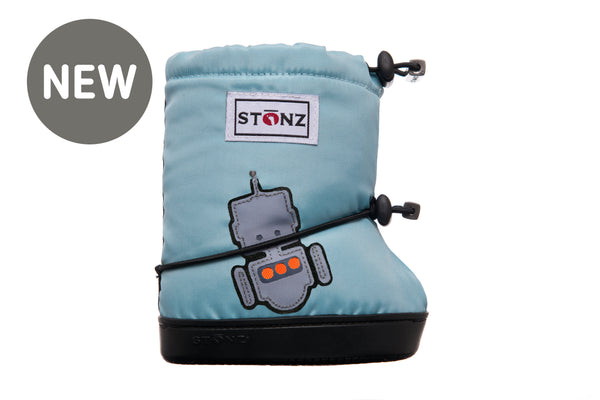 Toddler Booties - Robot - Haze Blue