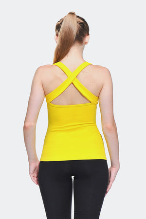 Ongasoft Yoga Tops-15003Yellow-Back