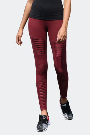 Ongasoft Yoga pants-K9006Red-Front