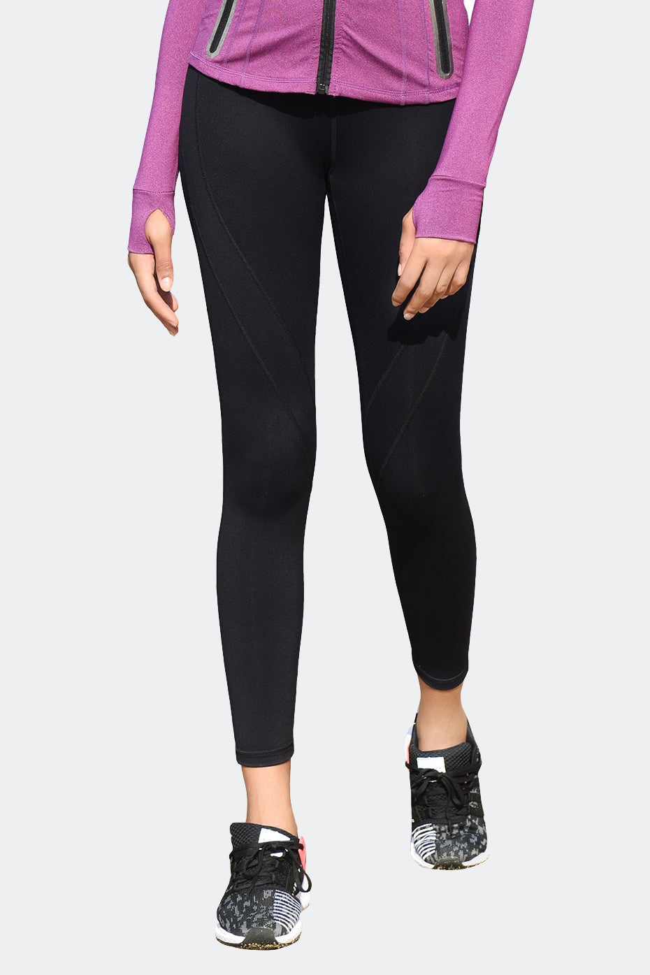 Ongasoft Yoga pants-K9004Black-Front