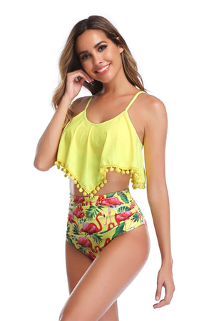 Women's High Waist Two Pieces Bikini Set Tassel Swimsuit