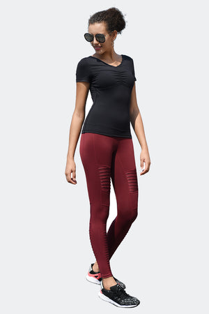Ongasoft Yoga pants-K9006Red-Model