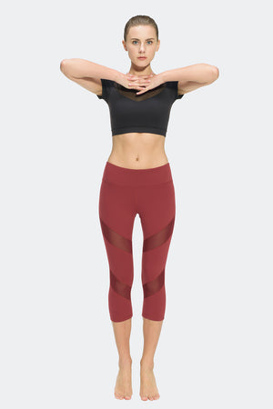Ongasoft Yoga pants-K7-002Red-Model