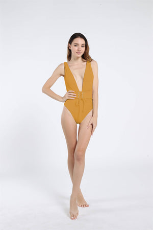 Sexy One Piece Lace Up Straps Swimsuit Bathing Suit Swimwear