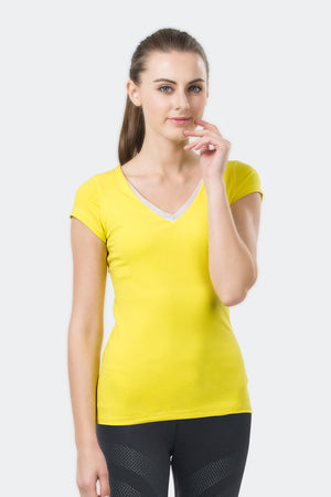 Ongasoft Yoga Tops-T001Yellow-Front