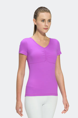 Ongasoft Yoga Tops-T006Purple-Front