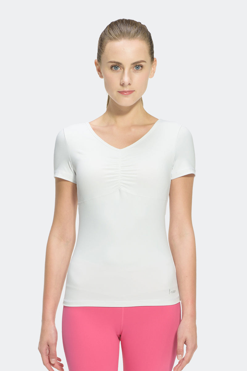 Ongasoft Yoga Tops-T006White-Model